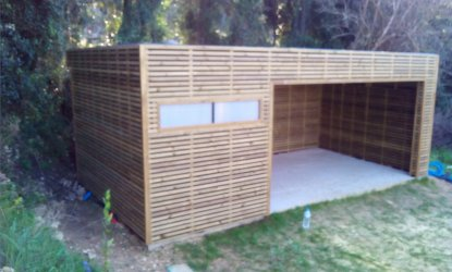 Construction bois pool house avignon vaucluse le thor for Construction pool house piscine